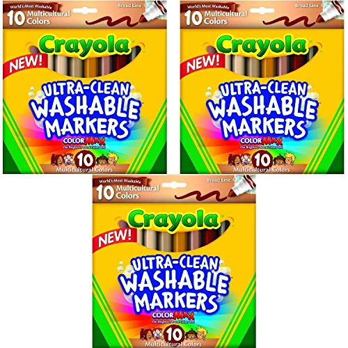 Crayola Ultraclean BL Multicultural Markers (3 Pack of 10 Count) ()