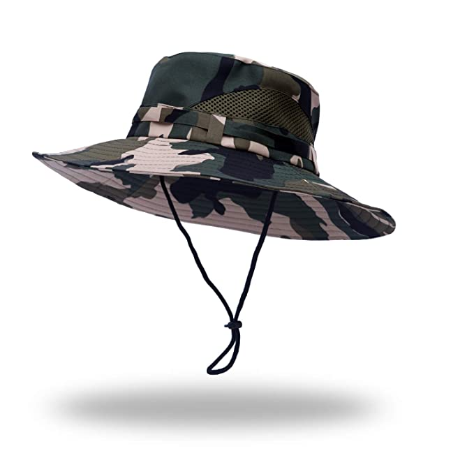 4ff5d190 Image Unavailable. Image not available for. Color: Anleolife CP Amy Green Jungle  Boonie Hat Travel Biking Boating Hiking Beach Vacation Bucket Cap