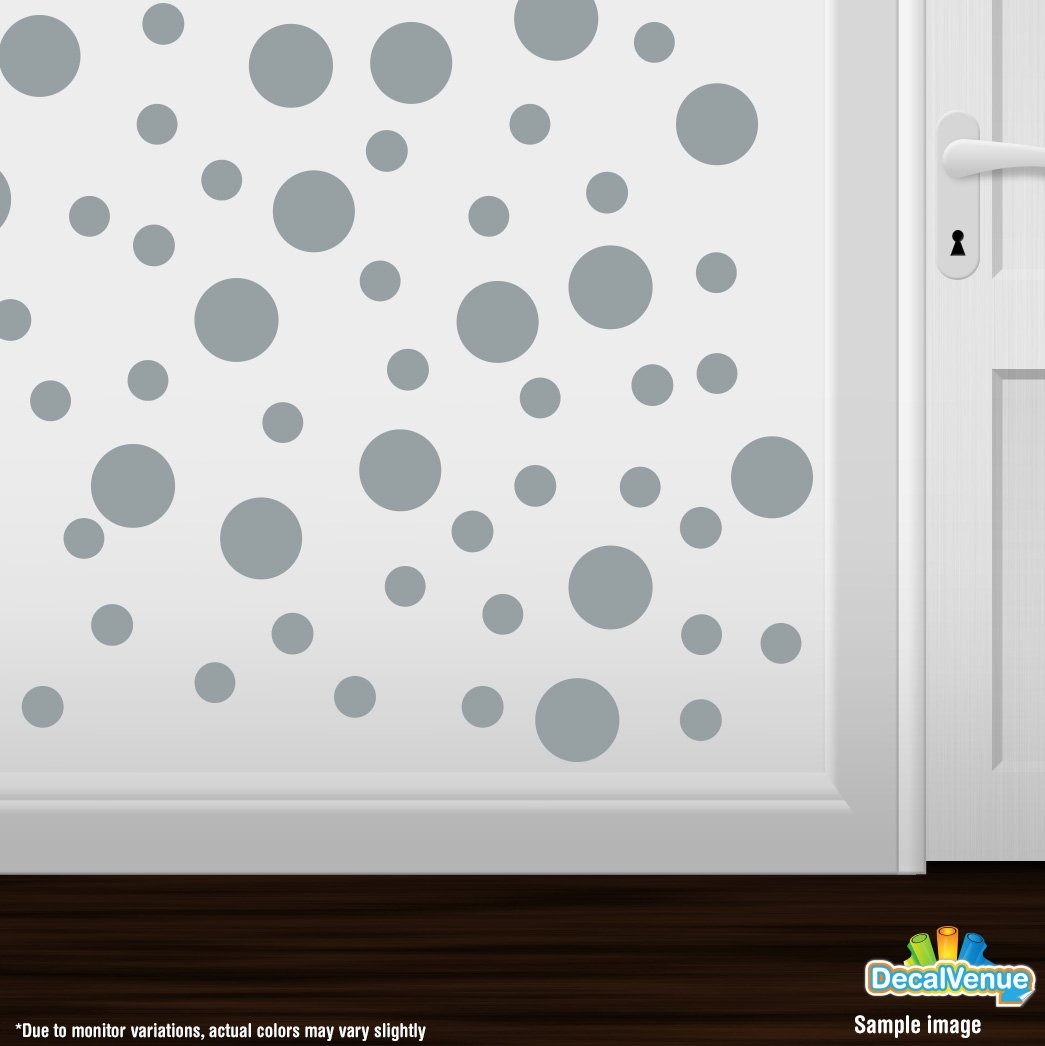 Set Of 30 Metallic Silver Circles Polka Dots Vinyl Wall Graphic