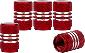 Senzeal 5X Aluminum Car Tire Valve Stem Caps Round Style Air Covers Red