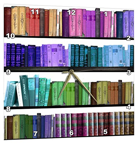 3dRose Colorful Bookshelf Books – Rainbow Bookshelves – Reading Book Geek Library Nerd – Librarian Author – Wall Clock, 15 by 15-Inch (dpp_112957_3) Review