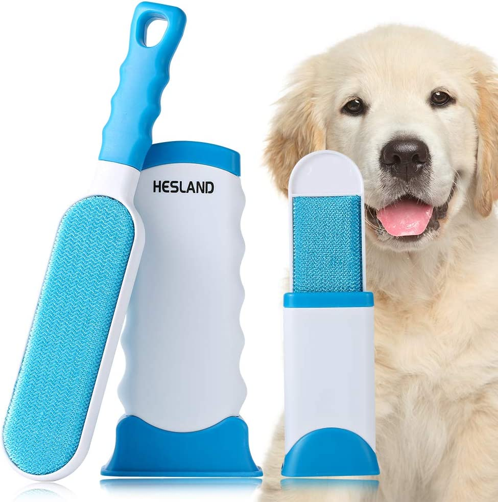 HESLAND Pet Hair Remover, Dog Cat Hair Remover with Self-Cleaning Base for Furniture, Couch, Clothing, Car Seat, Upgraded Reusable Pet Hair Remover Brush, Travel Size Included
