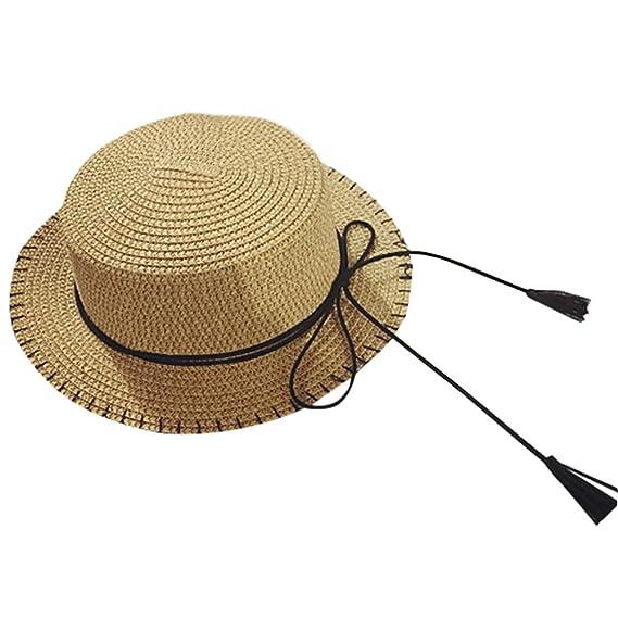 Leisial Unisexo Niños Sombrero de Paja Protección Solar Originales Sombrero  de Sol Gorra de Playa Verano para Playa Vacaciones Viajar al Aire Libre  ... 4dffe22f144