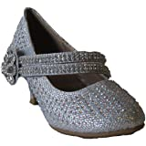 Justice 6 Little Girls Rhinestone Heeled Flower Design Velcro Strap Platform Dress Pumps Silver