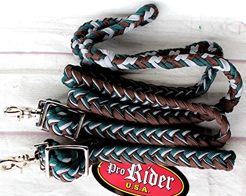 Horse Roping Knotted Tack Western Barrel Reins Nylon Braided Green Brown 607195