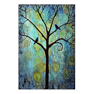Custom Beautiful Modern Art Abstract Painting Colorful Tree Of Life Canvas  Print 12 Part 96