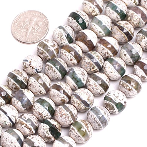 (Fire Agate Beads for Jewelry Making Gemstone Semi Precious 10mm Round Faceted Line 15