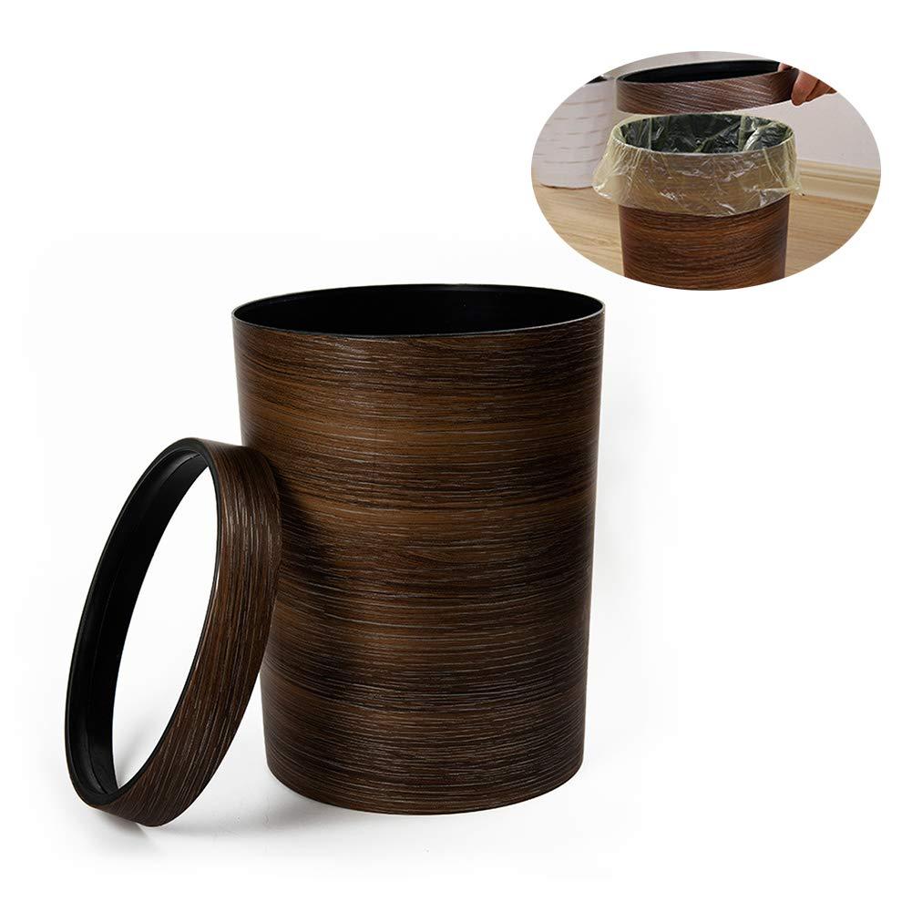 Ragdoll50 Waste Bin, Retro Pressure Ring Plastic Faux Wood Waste Bin Open Trash Can 10L, Wastebasket