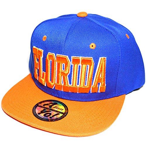 FLORIDA Embroidered Flat Visor Snapback Bill Cap Baseball Basketball Hat AYO3048 (BLUE / - Basketball Hat Embroidered
