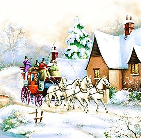 20 servilletas de carruaje de caballo en invierno como decoración de mesa para Navidad 33 x 33 cm