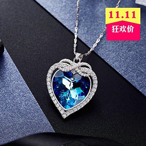 Generic 2018 _Xi_Daier_cross-border_ crystal necklace pendant women girl s925 silver jewelry _Austrian_ crystal _blue_ heart _of_Ocean_ pendant necklace (Pendant Cross Austrian)