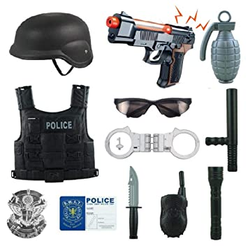 12 Pcs Police Costume for kids with Toy Role Play Kit with Bag Included