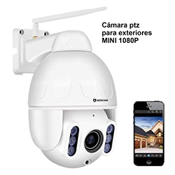 Cámara de Seguridad WiFi para Exteriores Dericam Mini 1080P, 4X PTZ óptico, Enfoque automático
