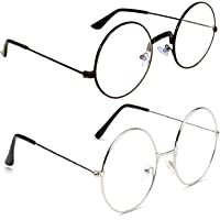 Dannilo Round Fully Metal ComboTransparent Spectacle Frame Sunglasses for Men and Women [Black & Silver]