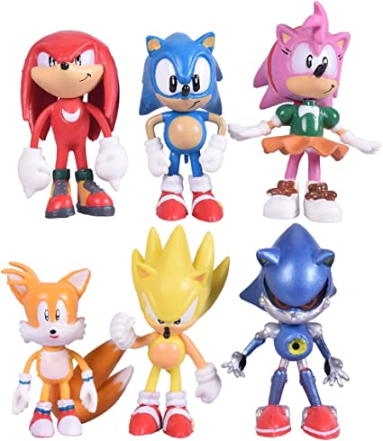 Amazon Com Max Fun Set Of 6pcs Sonic The Hedgehog Action Figures 5 7cm Tall Cake Toppers Classic Sonic Amy Super Sonic Tails Metal Sonic And Knuckles Toys Games