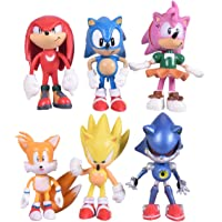 Max Fun Set of 6pcs Sonic the Hedgehog Action Figures, 5-7cm Tall Cake toppers- Classic Sonic, Amy, Super Sonic, Tails…