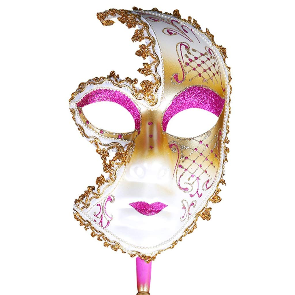 ZYLE-MASK European and American Painted Halloween Masks, Prom Party Masks Upscale Venice Performance Masks for Ladies (Color : Pink)
