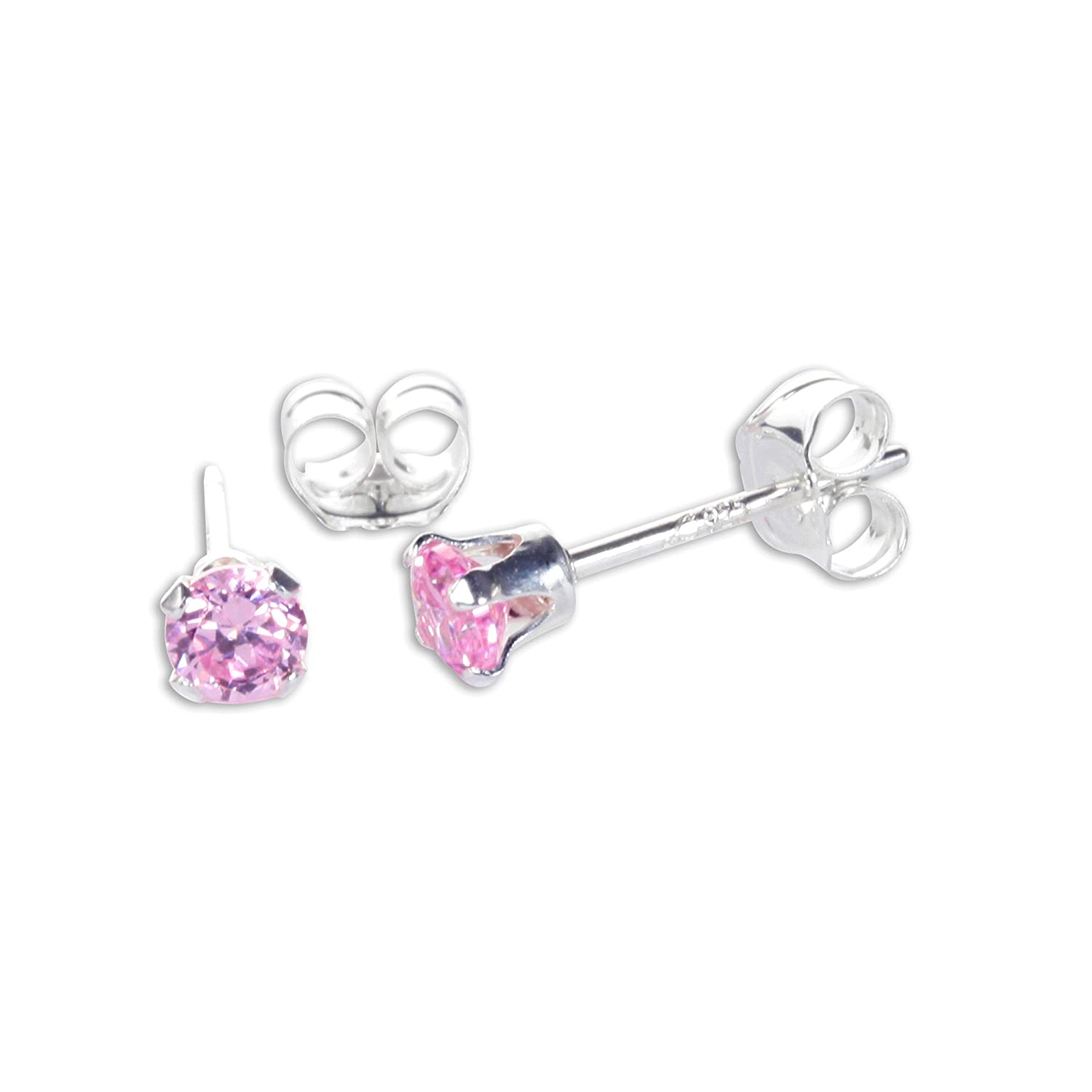 Sterling Silver 3mm Round Crystal Cubic Zirconia CZ Stud Earrings | 13 Colours | Birthstones JewelleryBox CRSTUD-038-GG