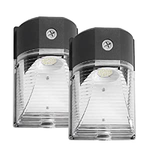 CINOTON LED Wall Pack Light, 26W 3000lm 5000K (Dusk-to-Dawn Photocell,Waterproof IP65), 100-277Vac,150-250W MH/HPS Replacement, ETL DLC Listed 5-Year Warranty Outdoor Security Lighting (2pack)