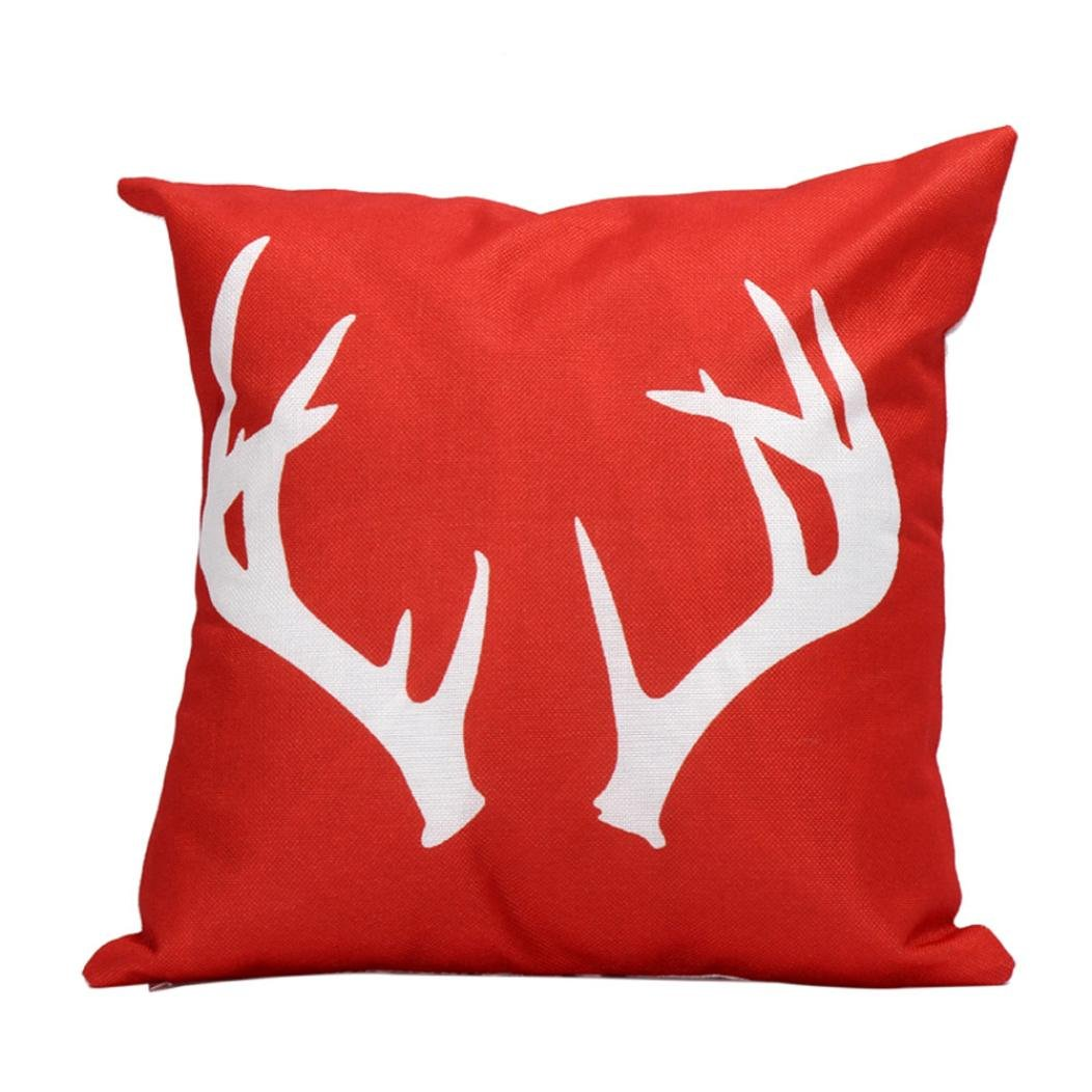 Christmas Antlers Linen Pillow Case Cover
