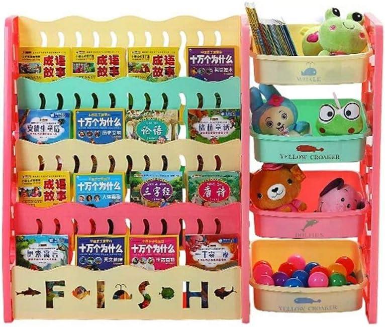 子供用おもちゃ収納ラック おもちゃの収納ボックス1-5イヤーキッズ小さな本棚付き低学習本棚4ティア おもちゃ箱 ラック (Color : Multi-colored, Size : 104x82x30cm)