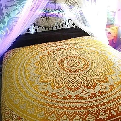 Cristoferv Tapete de Playa Tótem Redondo Toalla de Yoga Gasa Mantel Amarillo Pavo Real 150 cm