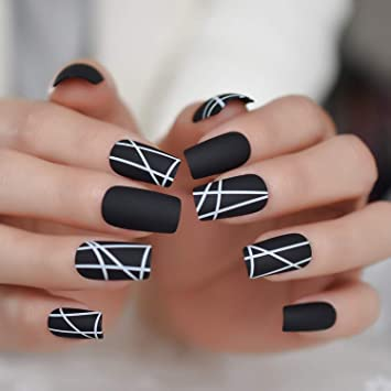 Amazon.com: Uñas postizas de color negro mate visibles con ...