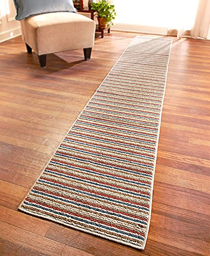 - Extra Long Stripe Nonslip Runners Home Hall Kitchen Accent Mat Rug Sand Blue Sage (20