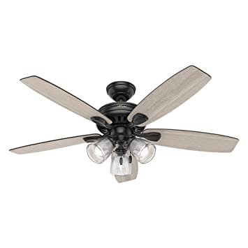 Hunter 52 matte black finish contemporary ceiling fan with light hunter 52quot matte black finish contemporary ceiling fan with light kit certified refurbished mozeypictures Choice Image
