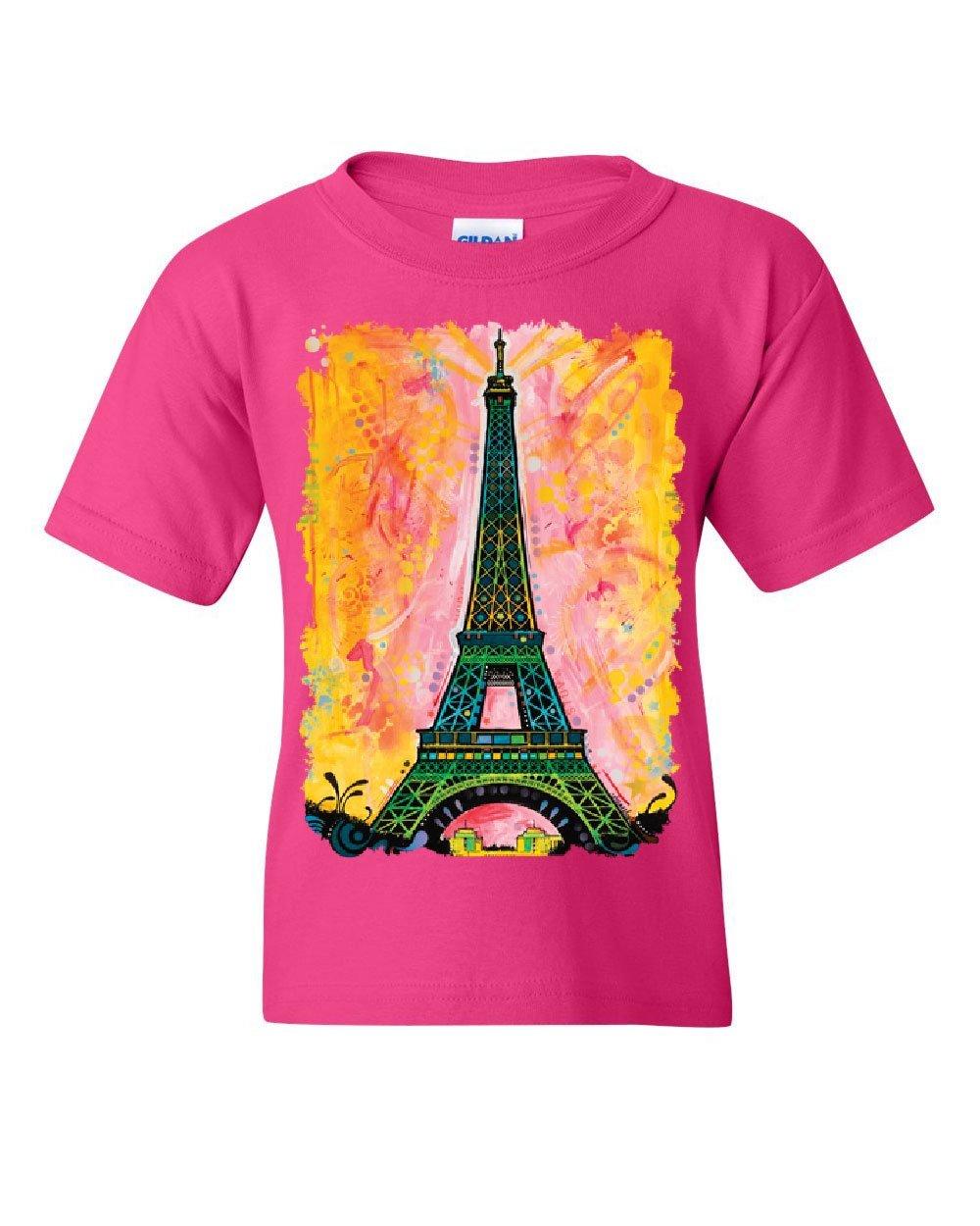 Eiffel Tower Youth T-Shirt Dean Russo Paris France Travel Europe EU Kids Tee Pink L