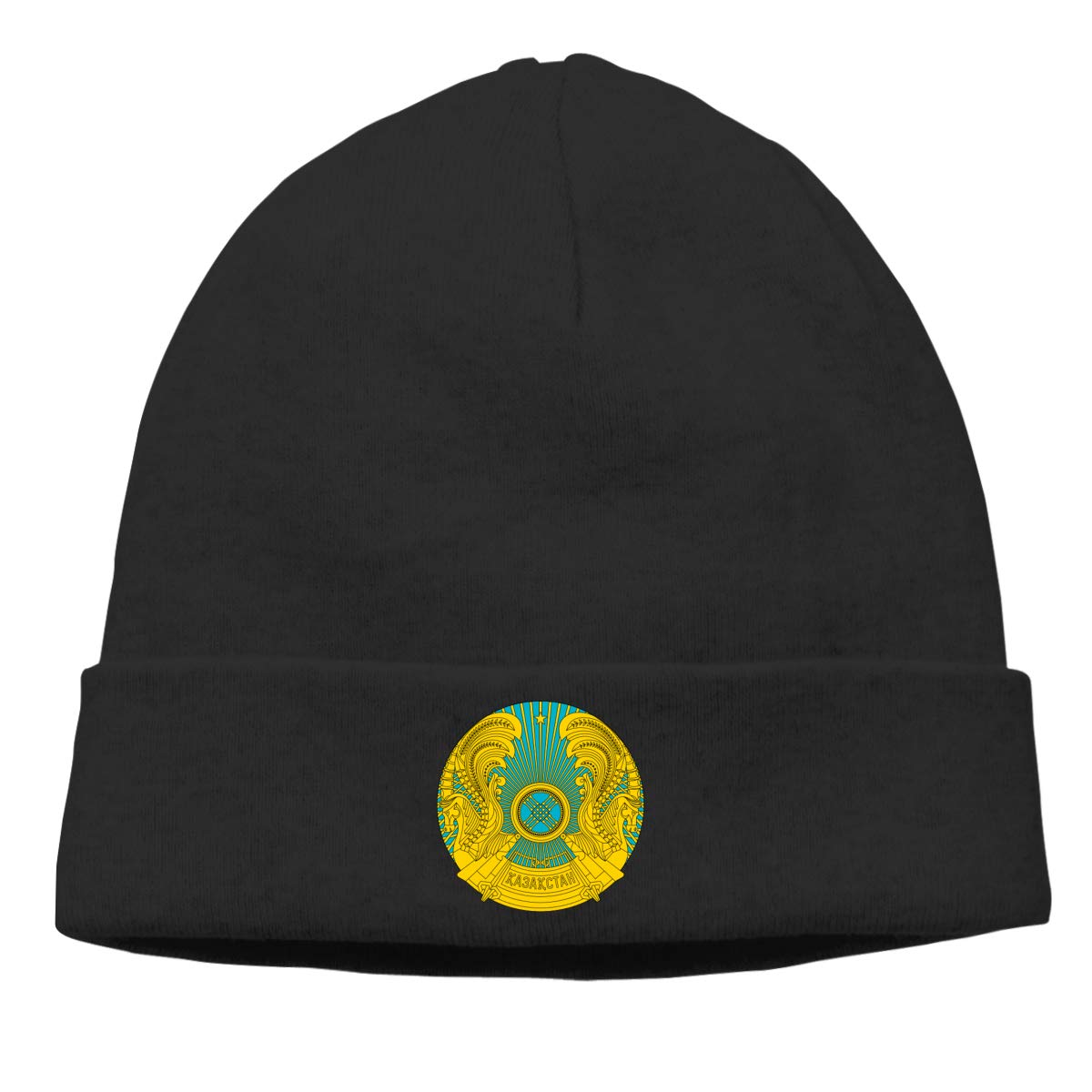 Nskngr Emblem of Kazakhstan Cap Men Winter Summer Chunky Knit Hat Cap Beanie Skull Cap