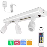 BIGLIGHT LED Track Light, Dimmable Accent Lighting with 3 Rotatable Heads, Plug in Spotlight with Remote Control for Highlight Kitchen Counter Cabinet Gallery Picture Bathroom Basement Artwork