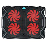 Tenswall Laptop Cooling Pad, Portable Ultra-Slim Quiet Laptop Notebook Cooler Cooling Pad Stand with 4 USB Powered Fans, Fits 11 -17 Inches