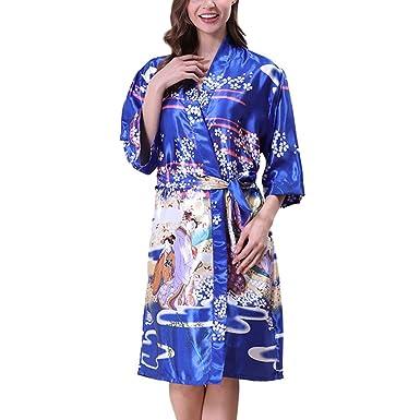9dfaf84514b20 Hzjundasi Filles Femmes Poids léger Kimono Robe Imprimé Satin Soie  Respirant Dames Vêtements de nuit Peignoir de bain Robe de chambre Pyjamas  Chemise de ...