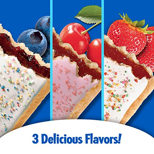 Pop-Tarts Breakfast Toaster Pastries, Flavored Variety Pack, Frosted Strawberry, Frosted Blueberry, Frosted Cherry, 12 Count,(Pack of 12) by Pop-Tarts (Image #3)