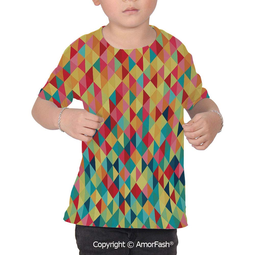 Abstract Original Printed Short Sleeve Shirt Size XS-2XL Big,Triangle Formed Fra