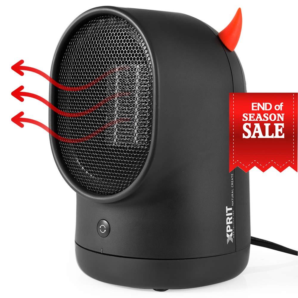 XPRIT Desktop Space Heater Cute Design Ceramic Heater w/Auto Oscillating Black