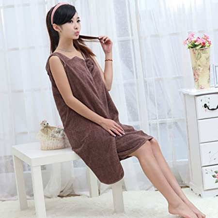 38cbfc74e9 Women s Girls Sexy Wearable Towel Magic Bath Towels Bath Skirt Lady Girls  Wearable Fast Drying Magic Sauna Spa Beach Swim Bath Towel (Brown)   Amazon.co.uk  ...