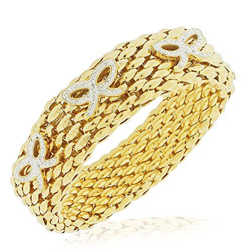 Gold Tone Mesh Bow (Stainless Steel Yellow Gold-Tone Clear CZ Mesh Stretch Bows Bracelet, 8