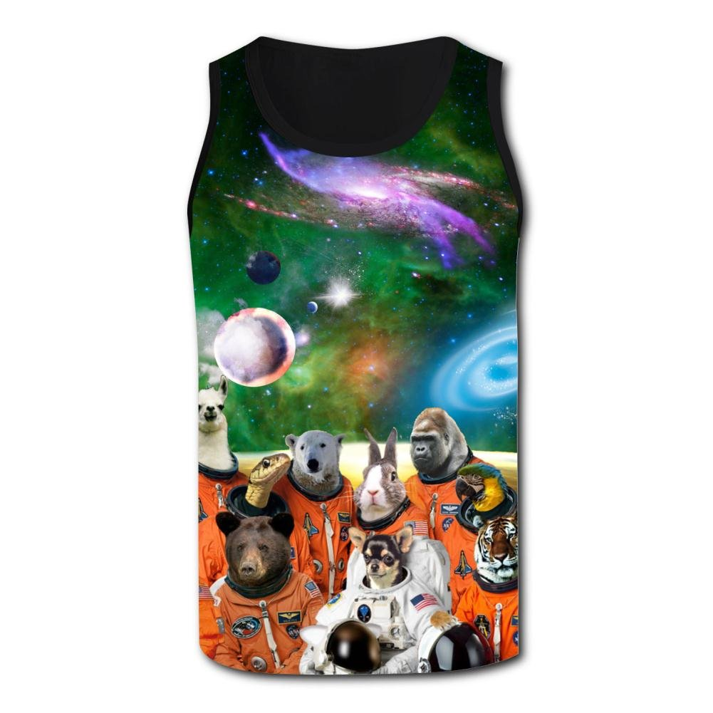 Elcacf Mens Tank Tops Funny Green Space Zoon Casual 3D Vest Sleeveless Shirt