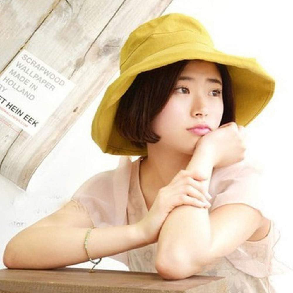 UVYANG Women Sun Hat Anti-Uv Cotton Summer Hat For Women Vacation Brim Beach Hat Foldable Bucket Hat Large Brim Cap