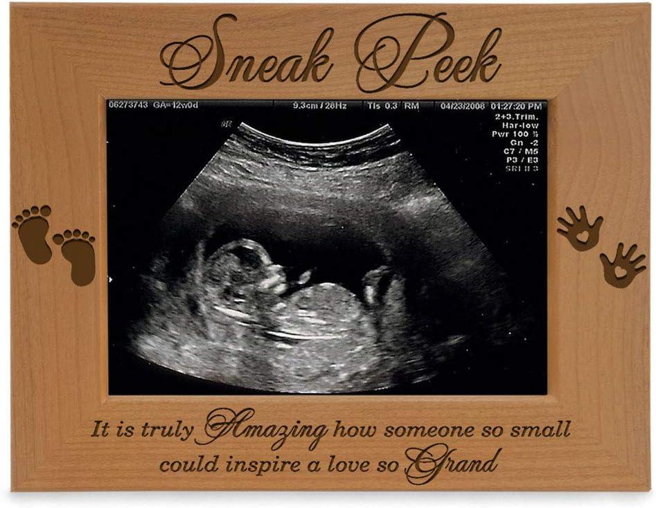 KATE POSH - Sneak Peek Sonogram Frame - Engraved Natural Wood, New Dad Gifts, New Mom Gifts (3 1/2 x 5 Horizontal)