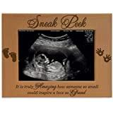 KATE POSH - Sneak Peek Sonogram Frame - Engraved Natural Wood, New Dad Gifts, New Mom Gifts (3 1/2 x 5 Horizontal)