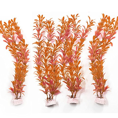 4Pcs Artificial Aquarium Plants Plastic Water Plant Fish Tank Decoration 11 Inch Height Red