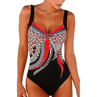 c5df7f140cb Women's Plus Size Halter Sexy Swimwear Summer Beach Siamese Swimsuit Retro  Crisscross One Piece Swimsuit (