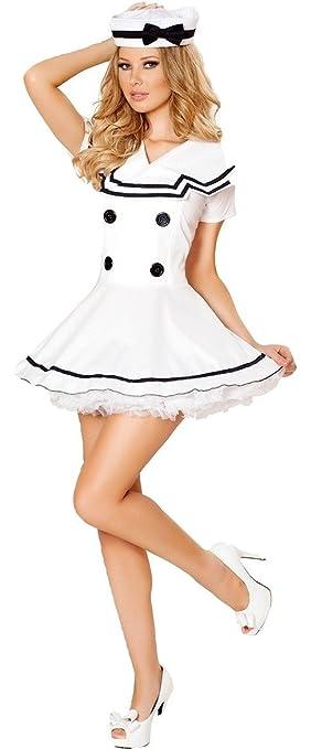 9401da7e7 Juego de disfraz de marinero blanco de 2 piezas para mujer