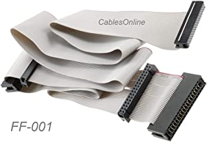 CablesOnline 24-inch Universal Floppy Drive Ribbon Cable for 3.5 or 5.25in Drives, FF-001
