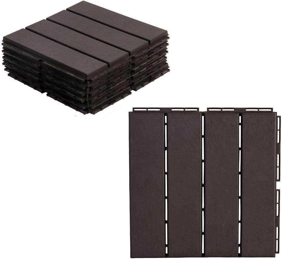 10 pcs Gray AsterOutdoor Interlocking Deck Tile Plastic Waterproof Outdoor Flooring 12 x 12 for Patio Garden Deck Poolside Indoor Outdoor