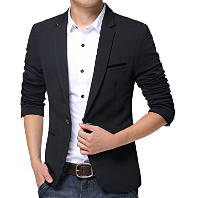 fd100cdf5dd9 Pishon Men s Slim Fit Suits Casual One Button Flap Pockets Solid Blazer  Jacket