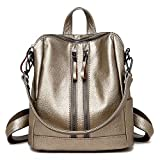 Women's Purse Wallet Pu Washed Leather Double Front Zipper Ladies Backpack Shoulder Bag,Gold-OneSize